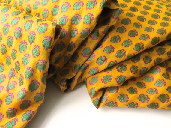 Yellow green flower silk brocade India tie silk by SilksByUmf