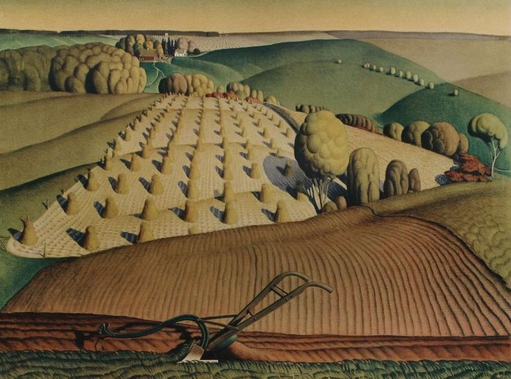 Artist: Grant Wood Date: 1930/1940 Printed: U.S.A. Material: Thick stock paper Publisher: New York Graphic Society Style: Social Realism/Regionalism Provenance: