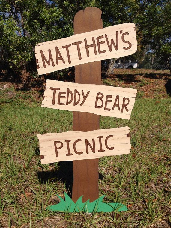 Teddy Bear Picnic Sign  Customizable Faux Wooden by CSCuteCrafts, $23.00