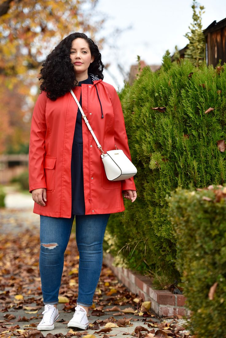 Plus Size Fashion for Women - Red Raincoat, Converse