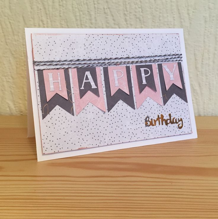 Happy Birthday banner bunting card made using Trimcraft dies. This card was used on a sample during the Create & Craft show on 25th October 2016.