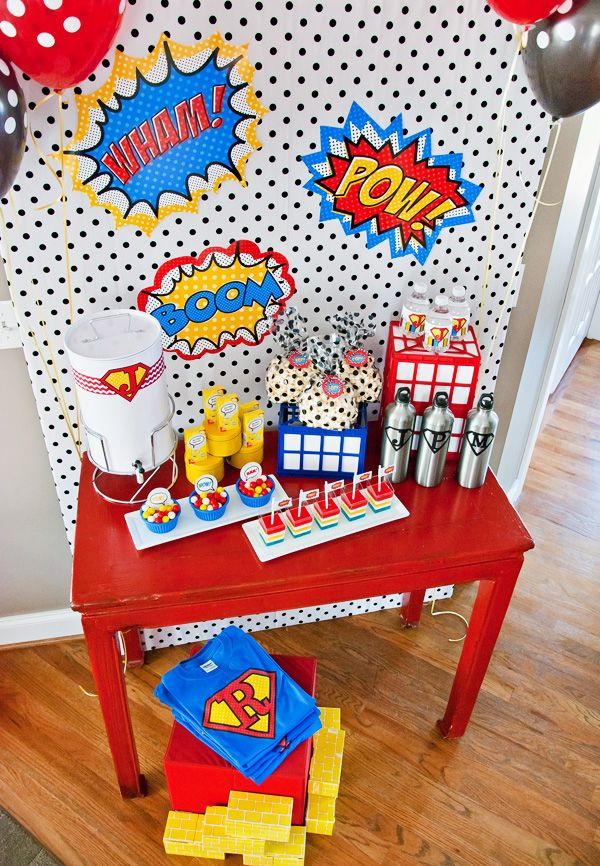 {Budget Friendly} Comic Book Style Super Hero Party  Comic Book Super Heroes Party  For more party ideas visit: www.fireblossomcandle.com