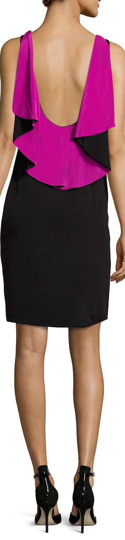 Ralph Lauren Black Label Sleeveless Ruffle-Back Colorblock Sheath Dress