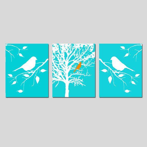 Uccelli Natura Wall Art Trio uccello in albero uccello di Tessyla
