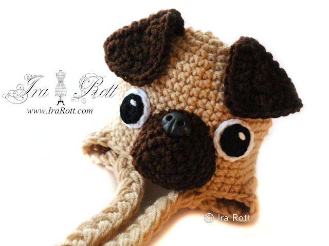 Handmade Crochet Pug Puppy Dog Hat for Boys and Girls - I will learn how to crochet specifically to make this, omg.