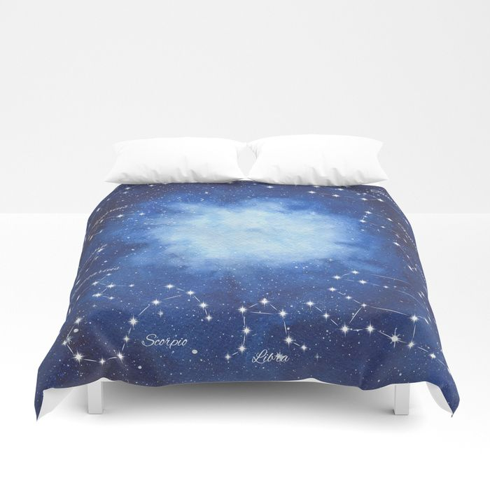 Cosmic Horoscope Duvet Cover #space #zodiac #signs #horoscope #universe #galaxy #nebula #stars #constellations #watercolor #painting #night #buy #buyonline #shopping #giftidea #present #cosmic #cosmos #society6 #homedecor #home #decoration #bedroom