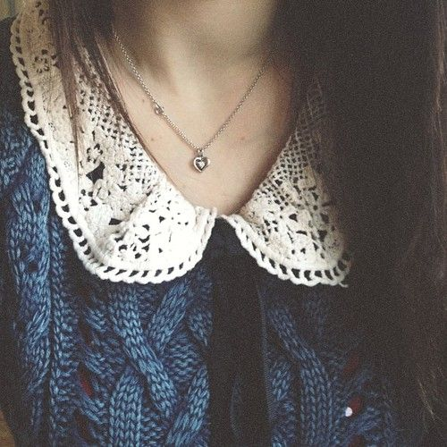 Peter Pan Collar + Blue Knit