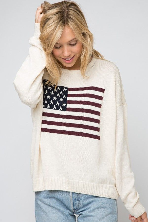 Brandy ♥ Melville | Rebecca American Flag Sweater - Clothing