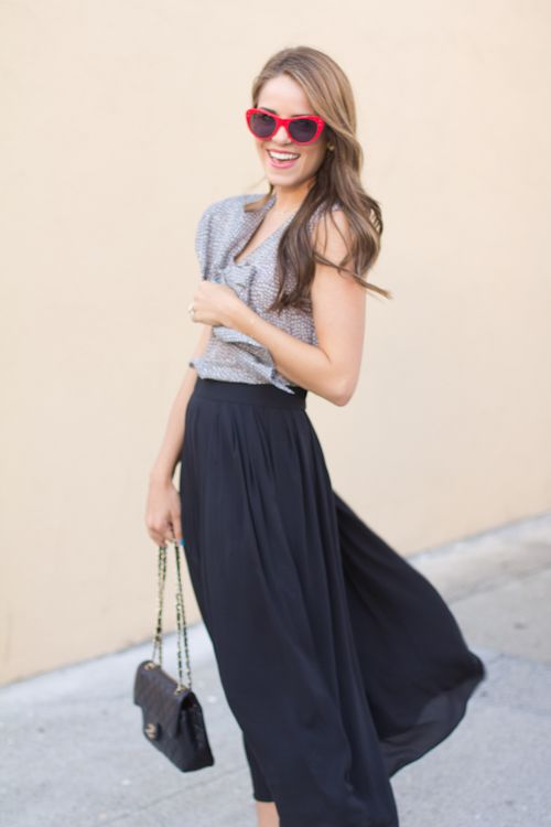 ruffle blouse and black maxi skirt