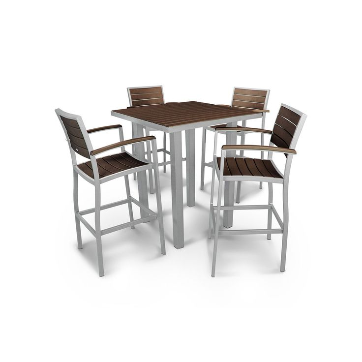 Polywood® Euro 5-piece Outdoor Bar Table Set, Multicolor