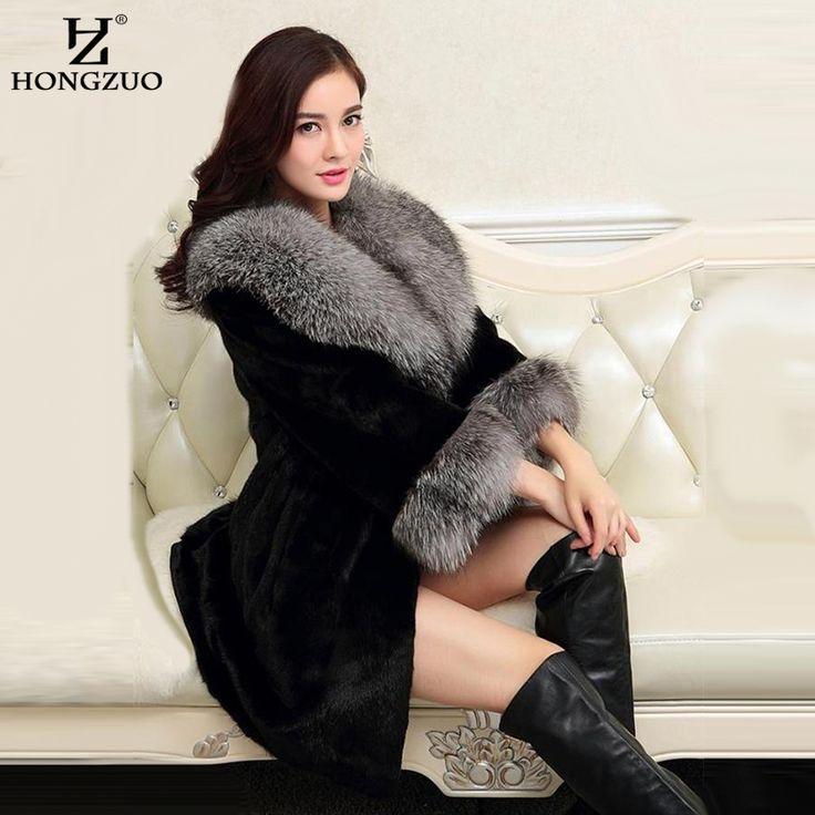 [HONGZUO] 2016 Winter Women Fur Coat Faux Mink Fur Coats With Fox Fur Collar High Imitation Silver Fox Fur Long Overcoat PC211
