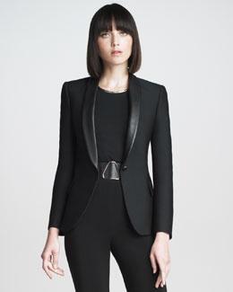 The Jacket Fall Trend  B1XVB Yves Saint Laurent Leather-Collar Blazer: Fierce Leather Collar, Fashion, Yves Saint Laurent, Laurent Leather Collar, Blazer Yves, Blazer Ysl, Leather Collar Blazer, Black Blazers
