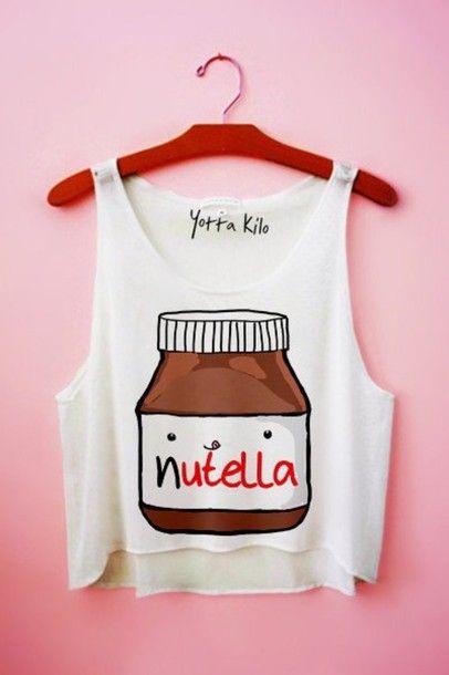 tank top nutella t-shirt white red brown beautiful ect bag shirt nutalla