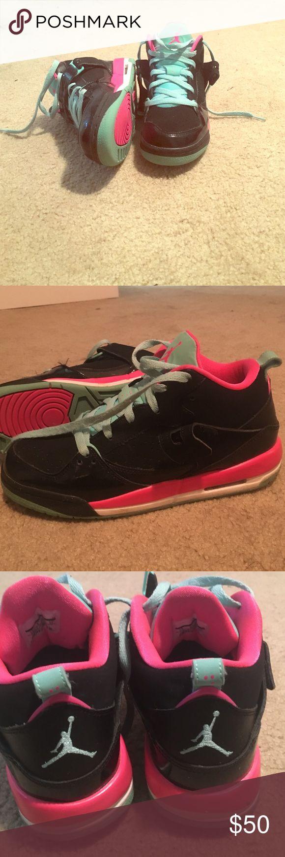 Girls black pink and teal Jordan sneakers Cute girls Jordan sneakers. Girls/boys size 7 which is = to women's size 9 Jordan Shoes Athletic Shoes