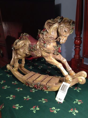 Christmas Antique Look Rocking Horse Decoration