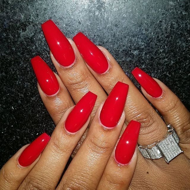 Cherry Red Coffin Shape Nails Red Acrylic Nails Red Nails