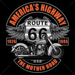 Wholesale Biker T-Shirts, Custom T-Shirts - 13680-13x14-americas-highway-route-66-mother-road