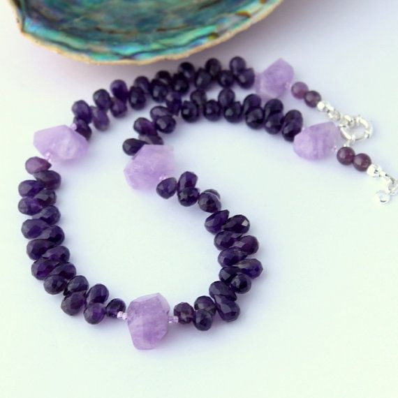 Amethyst Necklace Gemstone Beaded Necklace Amethyst by Fagiano