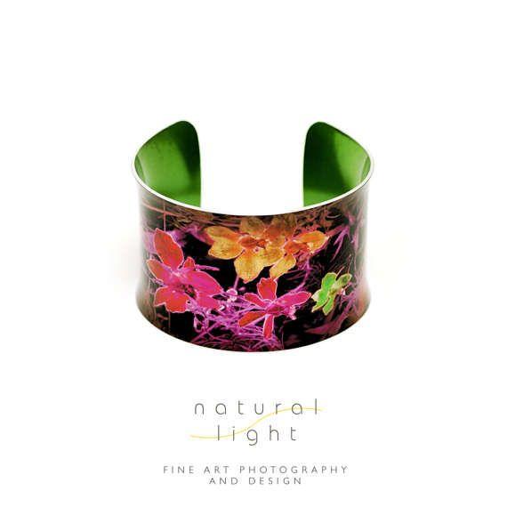Cuff Bracelet - Abstract Jewellery - Midnight Garden Purple And Orange  - Handmade Jewelry - Botanical - Anniversary Gift - Colorful Bangle