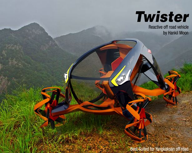 There's a famous two horns mountain (Yang-kak-san) in Korea with off road area that became the inspiration of this off-road vehicle: Twister.