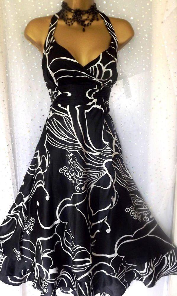 MONSOON *GINA* Black White Silk Print Oriane Occasion Dress UK 22 - Gorgeous!