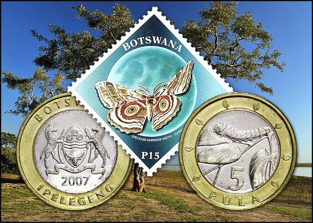 Numisarchives. Primitive Money. Mopane worm: Sello y moneda de Botswana representando respectivamente el insecto adulto y su larva.