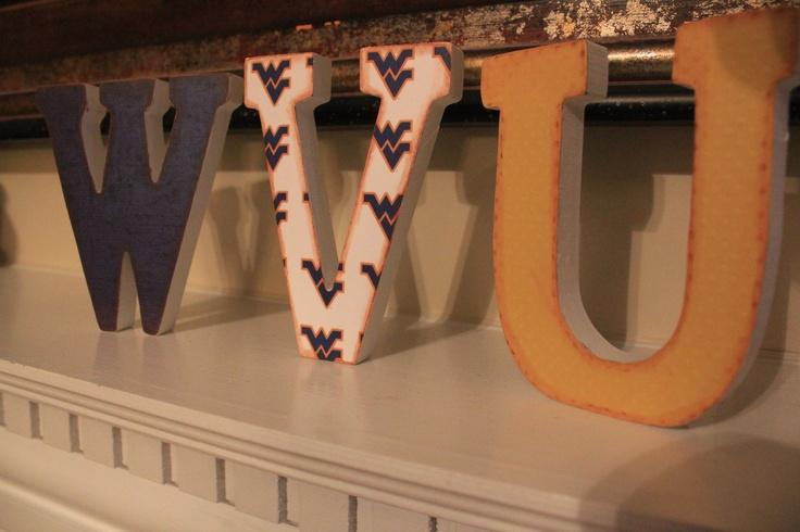 WVU Wooden Vintage Shelf Letters by YondeeCelebrations on Etsy