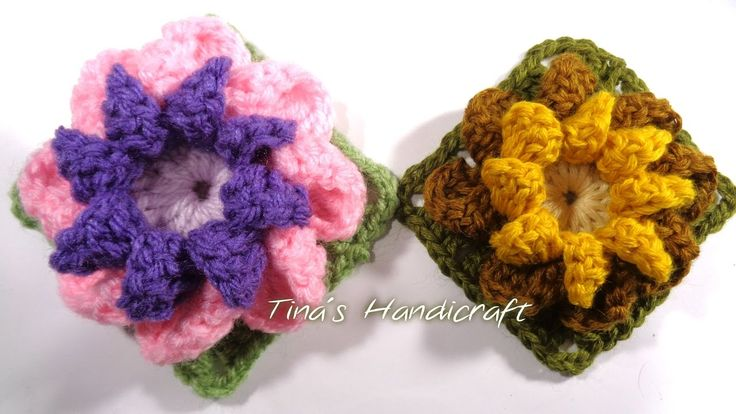 3D crochet flower in square motif