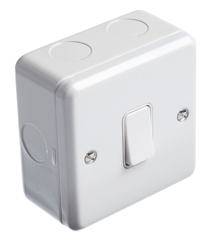 MK 1-Gang 2-Way 13A White Single Light Switch with Box | Departments | DIY at B&Q