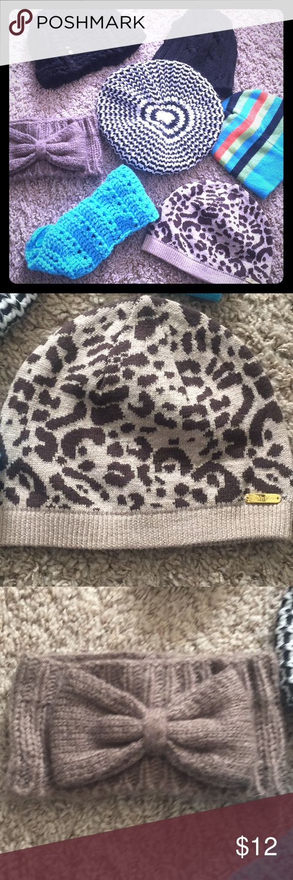 Bundle of beanies and headbands 2 black beanies, a slouch black and cream beanie with mettalic strands, clavin klein leapard print beanie, turquoise multicolor beanie and two wool head bands. Excellent condition and open to offers❄️ Accessories