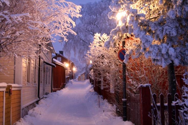 Ekenäs old town during winter in Raseborg, Finland