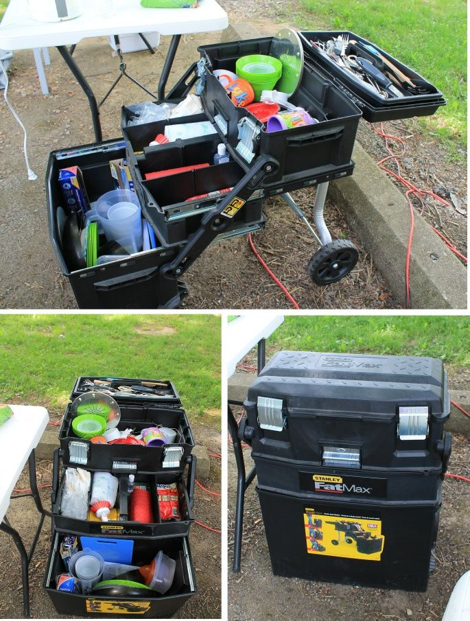 Stanley tool box used for storing camp/kitchen supplies...on wheels. This is awesome