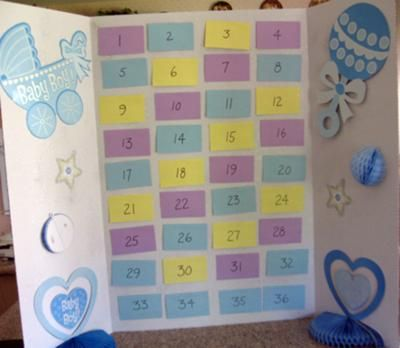 Baby Memory Game Board: This game has been a big hit at the last two showers I attended.   Purchase one of each of the candies listed below (or come up with some of your own)