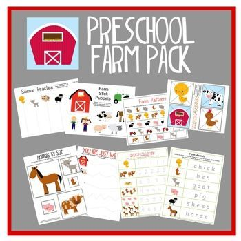 Freebie! Great for the beginning of the year or for students who need a review of skills. Preschool Farm Pack - puppets, puzzles, patterns, cutting, tracing, numbers etc.