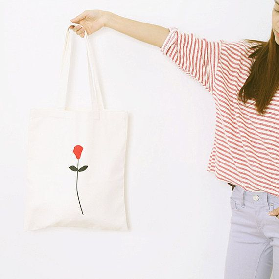 Red Flower Eco Bag  Hand Printed by DeliTime on Etsy
