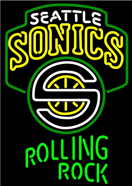 rolling rock seattle supersonics nba neon beer sign
