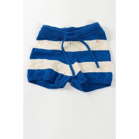 Gebreide Shorts Strepen Blauw