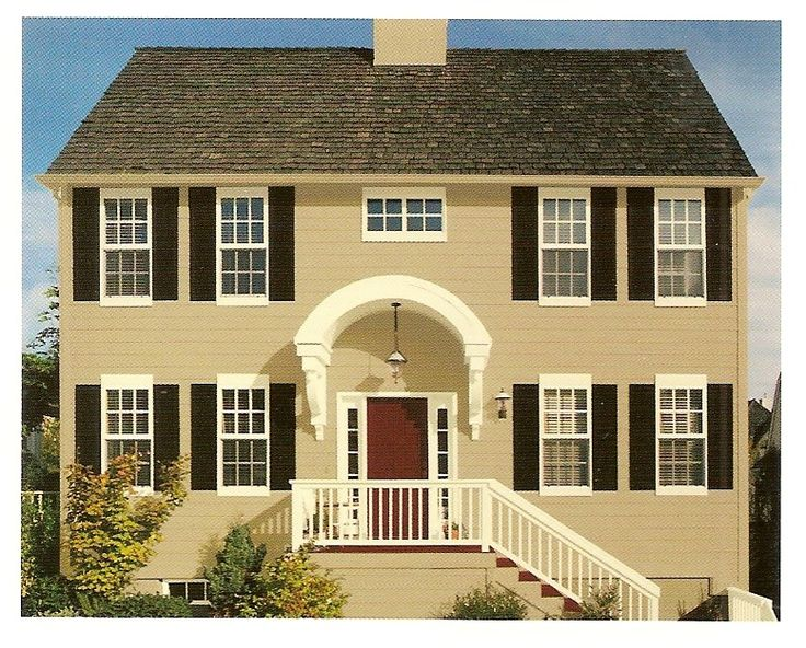 Exterior paint color combinations the butter cream with black shutters and reddish brown door - Exterior paint color combinations for homes ...