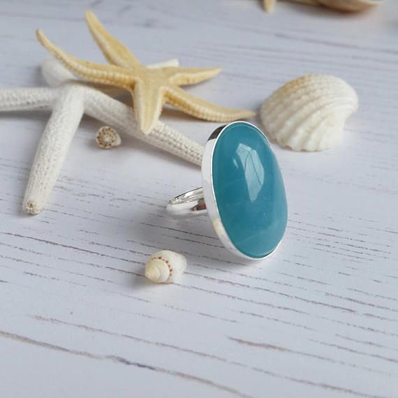 Stunning Green Large Amazonite Adjustable Sterling Silver Ring