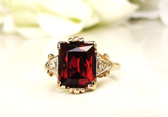 Art Deco Emerald Cut Ruby & Diamond Ring 3.79ct Synthetic Ruby