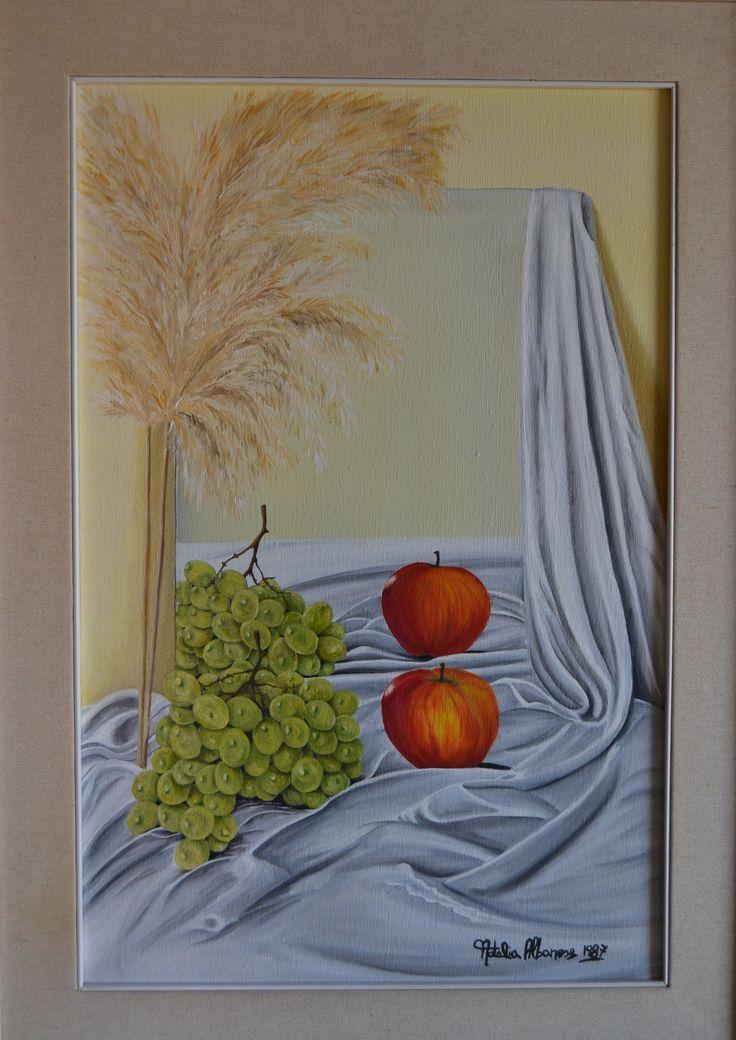 1 natura morta con specchio olio su tela 40 x60  1987autore Natalia Albanese