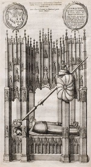 Tomb of John of Gaunt and his first wife Blanche of Lancaster from a 1641 engraving.  John of Gaunt died in February, 1399 at Leicester Castle and was buried at Old Saint Paul's Cathedral in London.  His tomb was destroyed during Great Fire of London of 1666.