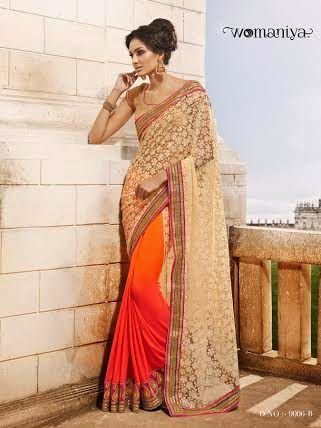 Beautifully designed Shaded Orange Pink with Beige Georgette saree with heavy embroidery work en-crafted all over. Comes along with Contrast matching Golden Blouse.