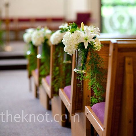 Simple Ceremony Decor - Small bouquets of lilies, hydrangeas and hypericum berries