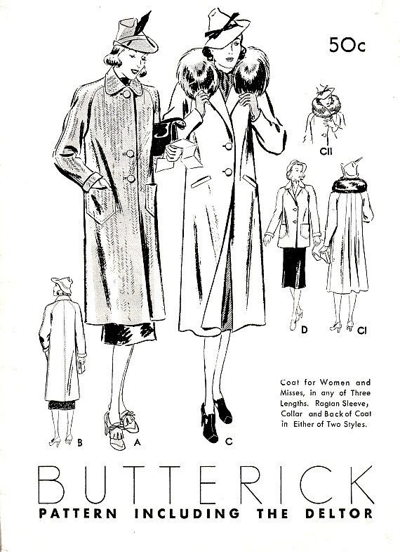 Women 30's Coats and Jackets Sewing Pattern by VintageNeedleFinds