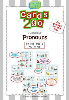 *Cards-2-Go* Subjective PRONOUNS Card Deckhe : she : they : I : you : it : weYour students and clients will love the bright, colourful graphics from Smarty Symbols. The fill-in sentence cards can be embedded into a variety of games and activities.
