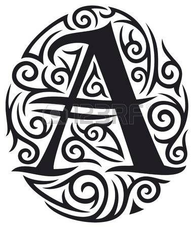lettre gothique: Une lettre de conception tribale de tatouage Illustration