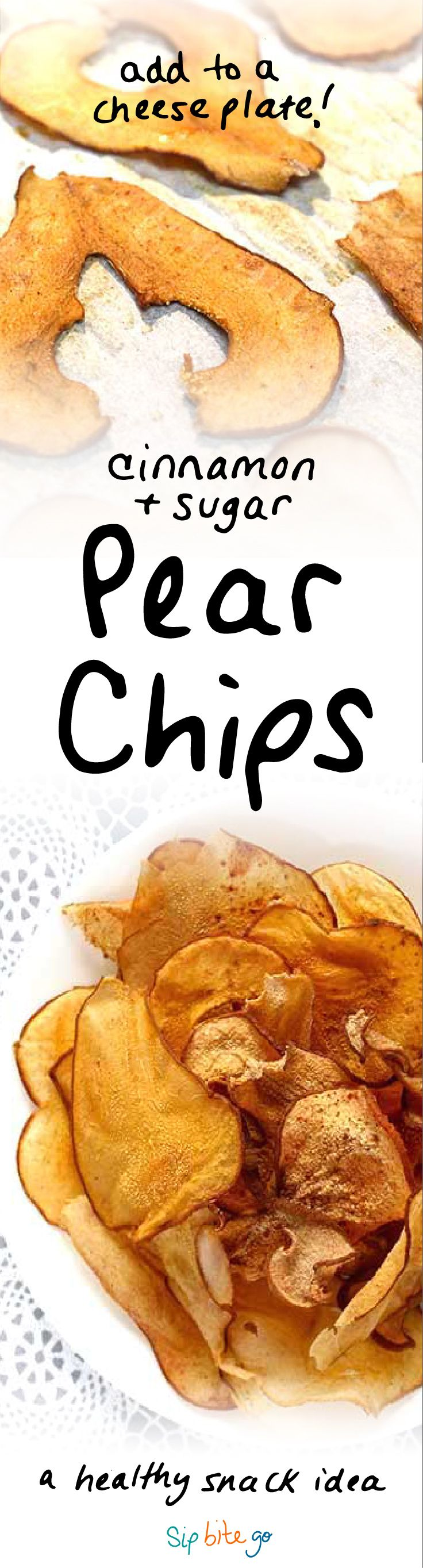 Crunchy pear chips make for a feel-good Fall recipe! Make 'em simple and healthy. Use a light dusting of sugar and cinnamon. They are great for breakfast on the go, in a salad with goat cheese, or as a healthy snack or dessert or cheese plate. They can be baked in the oven or popped in the dehydrator for any seasonal dish - Autumn, Thanksgiving, Christmas   via http://www.sipbitego.com/cinnamon-pear-chips-oven-baked/ #healthysnack #pears #dessert