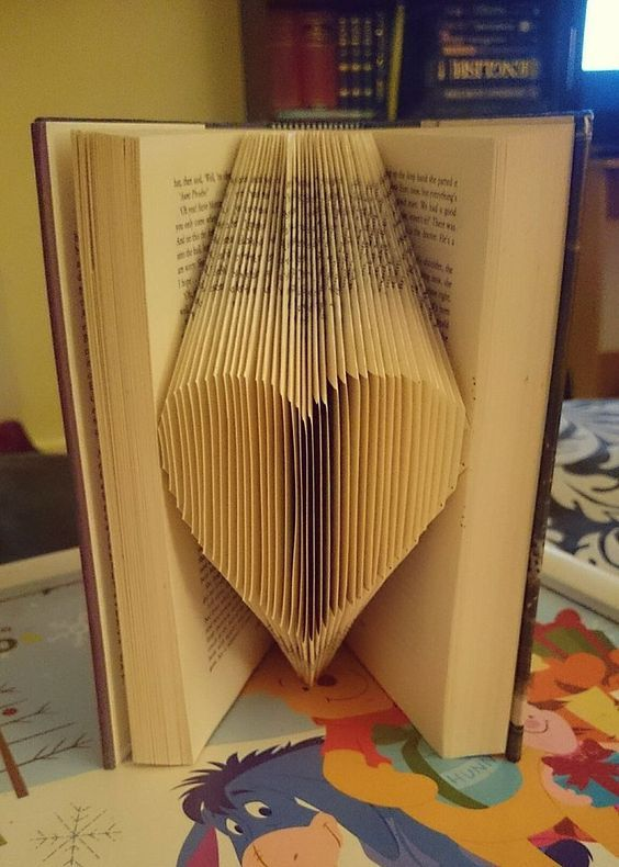 Have you seen some of folded book art at internet? They are so beautiful and make the perfect gift. In just a few hours, you can transform a book into a sculpture that you and your loved ones will cherish for years to come. These will look good on bookshelves or fill-out a bedroom mantel.