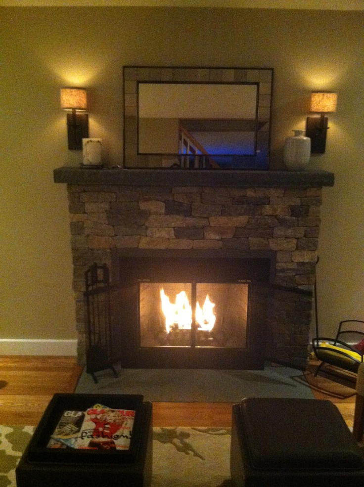 granite and bluestone fireplace remodel complete - Fireplace Fronts